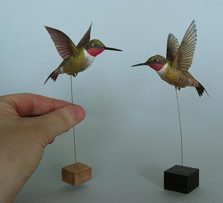 Papercraft imprimible y armable de un Colibrí / Hummingbirds. Manualidades a Raudales.